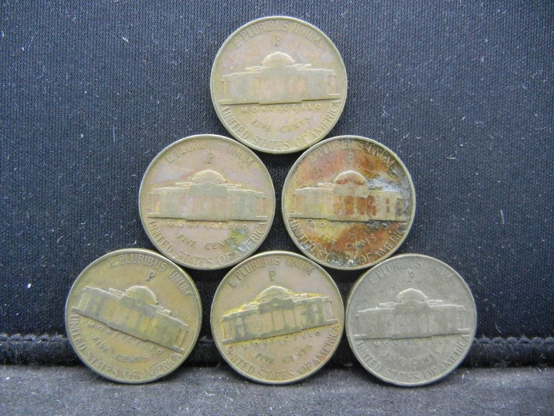 Lot of 6 35% Silver Jefferson Nickels. - 2