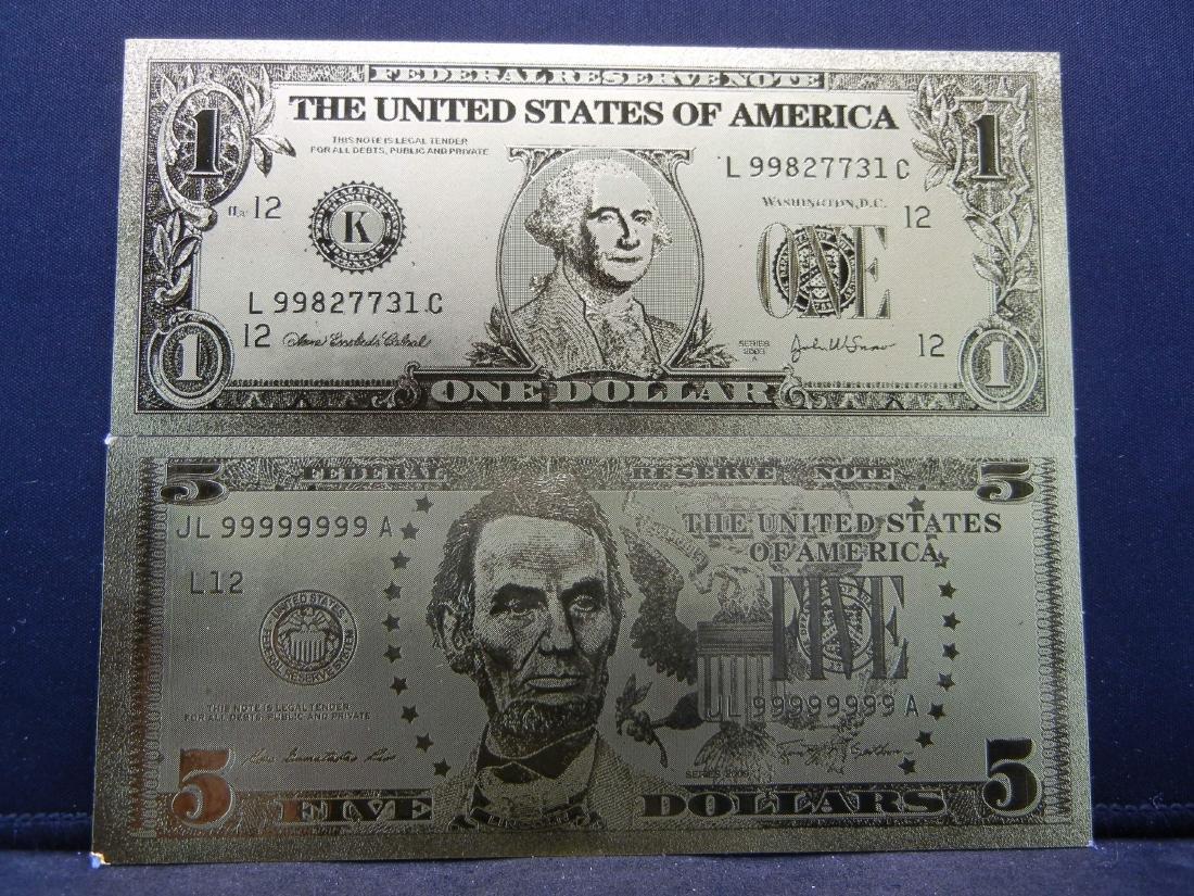 $1 & $5 Gold Foil Novelty Notes