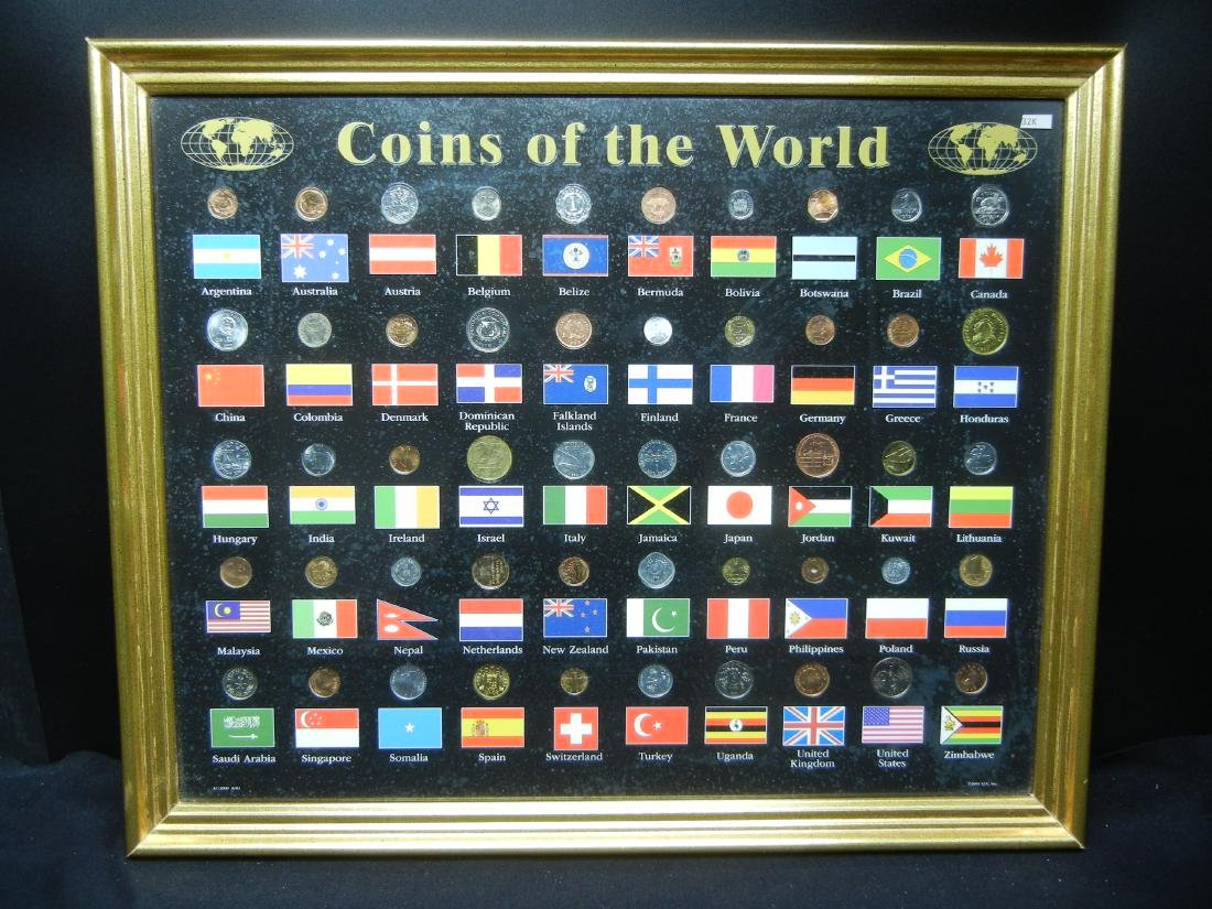 "Coins of the World 50-Coin Set Housed in 21 1/2"" X 17"