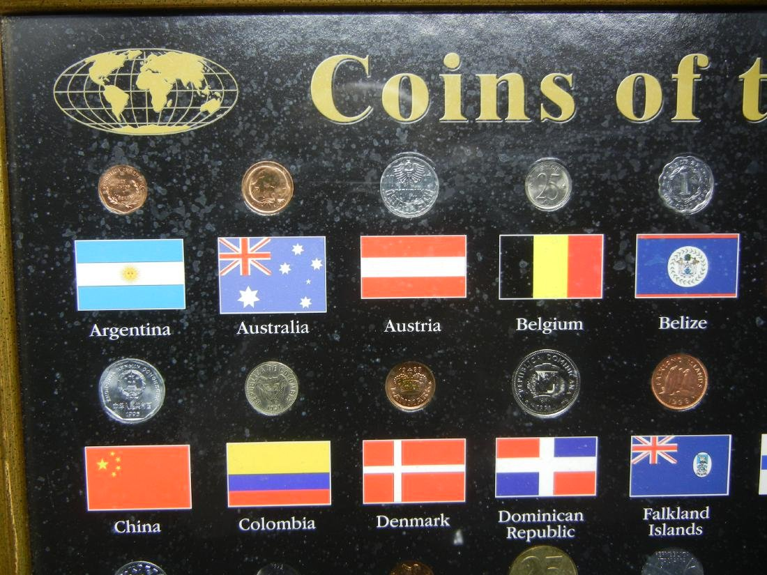 "Coins of the World 50-Coin Set Housed in 21 1/2"" X 17 - 2"