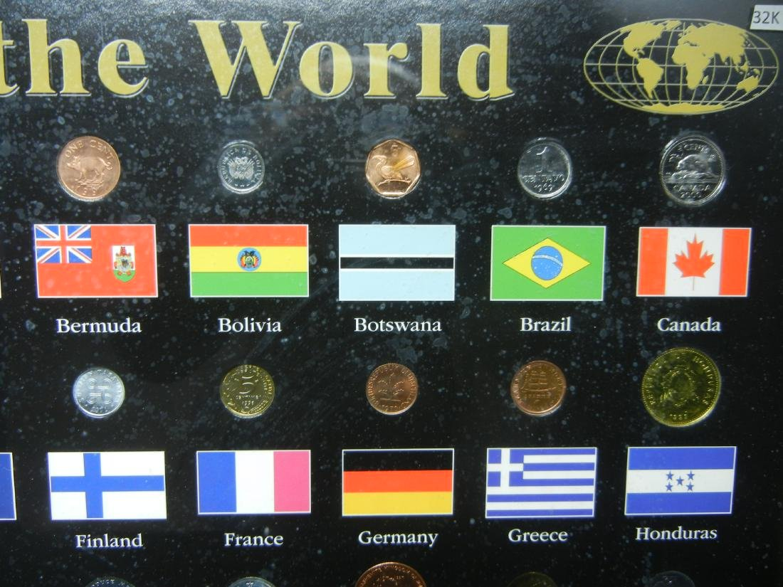 "Coins of the World 50-Coin Set Housed in 21 1/2"" X 17 - 3"