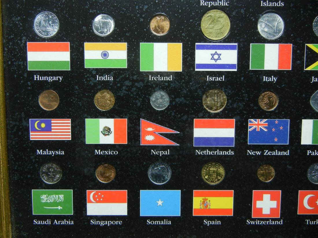 "Coins of the World 50-Coin Set Housed in 21 1/2"" X 17 - 4"