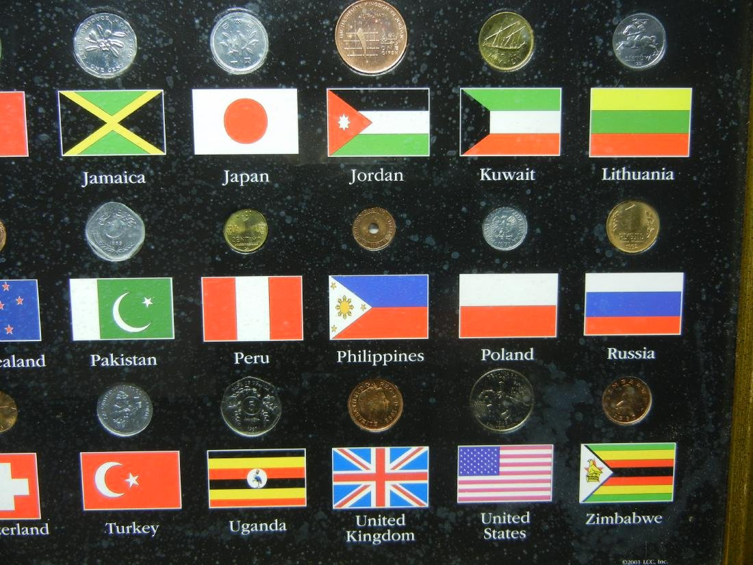 "Coins of the World 50-Coin Set Housed in 21 1/2"" X 17 - 5"