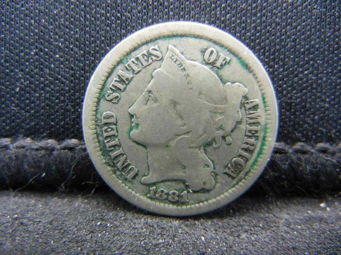 1881 Three Cent Nickel, Fine+ Condition.