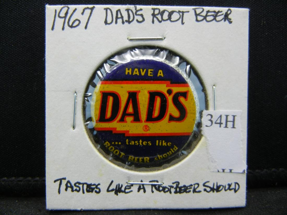 1967 Dads Rootbeer penny button. LUCKY DRINK. - 3