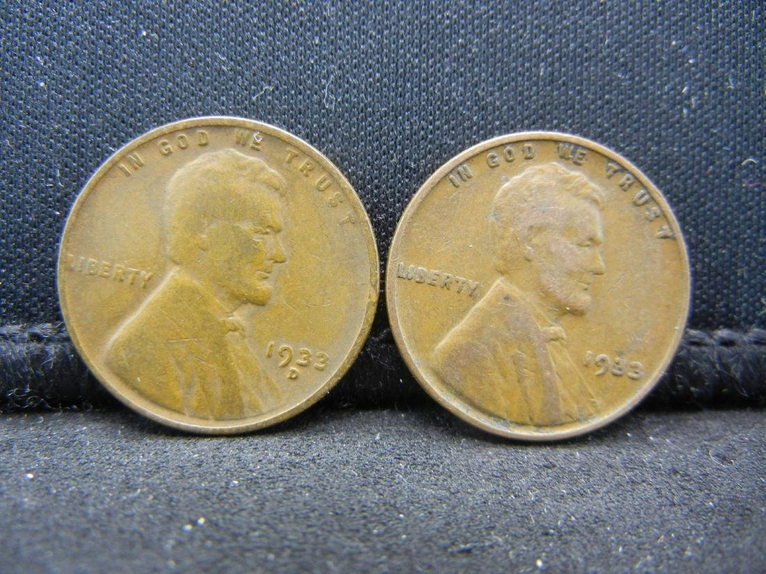 1933 PD Lincoln Wheat Cents.