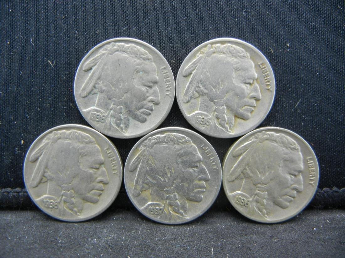 Lot of 5 Buffalo Nickels. Mixed Dates