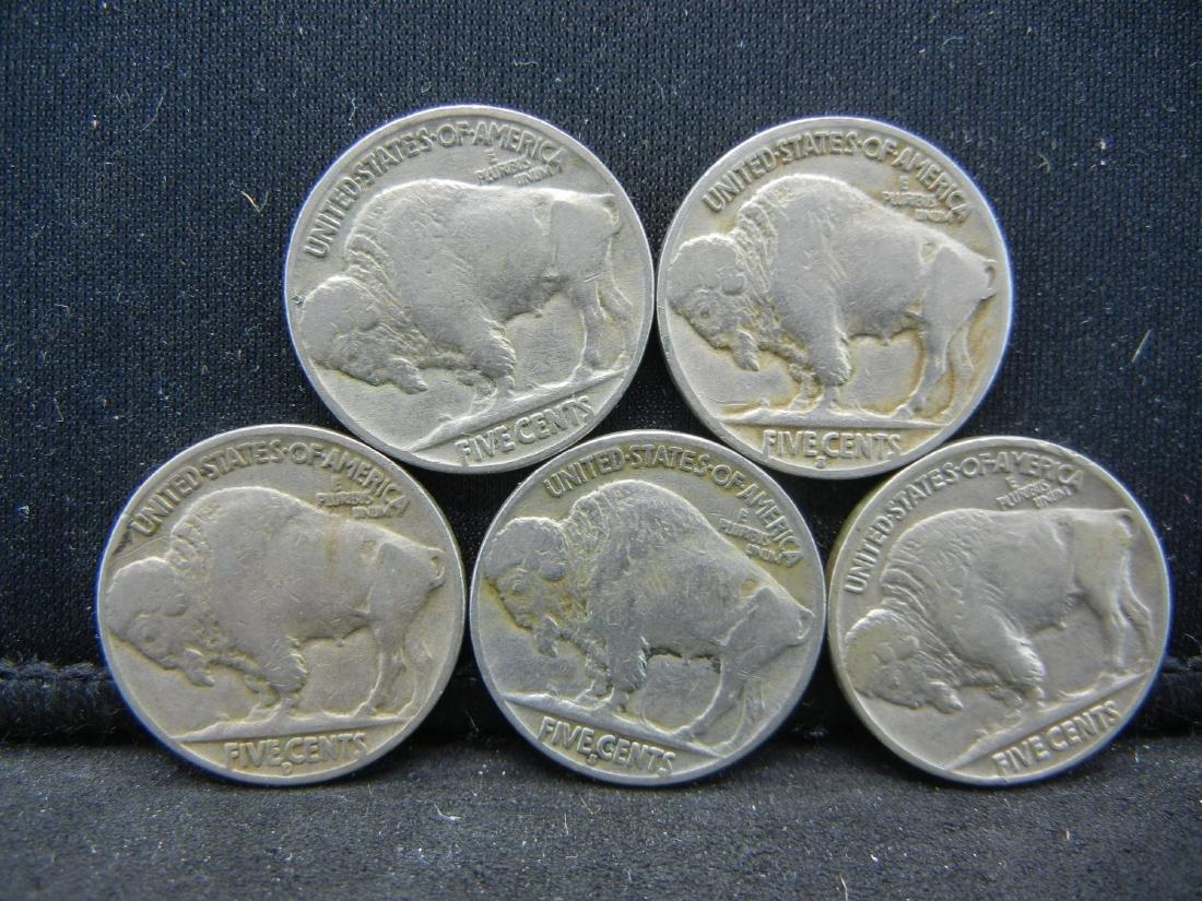 Lot of 5 Buffalo Nickels. Mixed Dates - 2