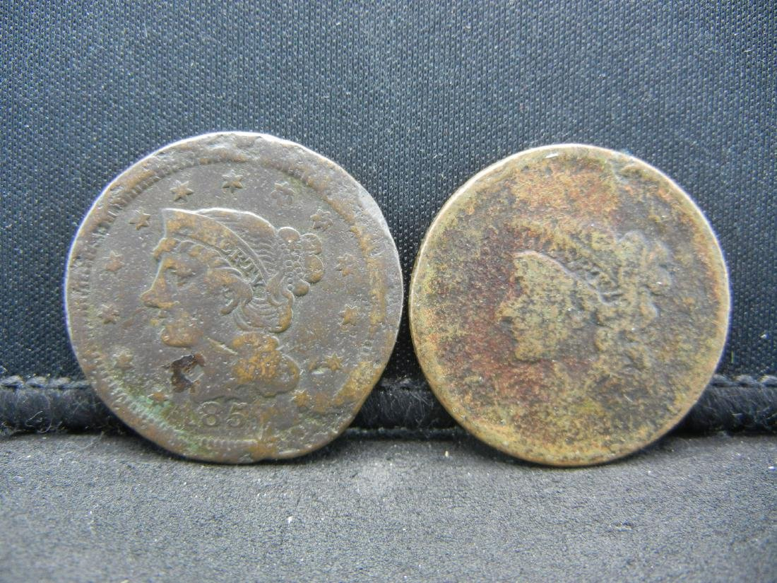 1838 and 1852 Large cents. Used
