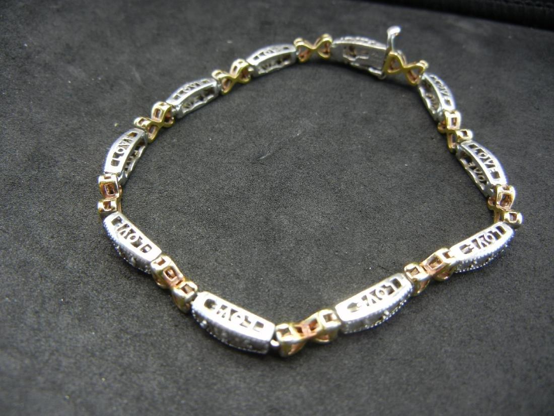 925 Silver Diamond LOVE Bracelet. With gold overlays