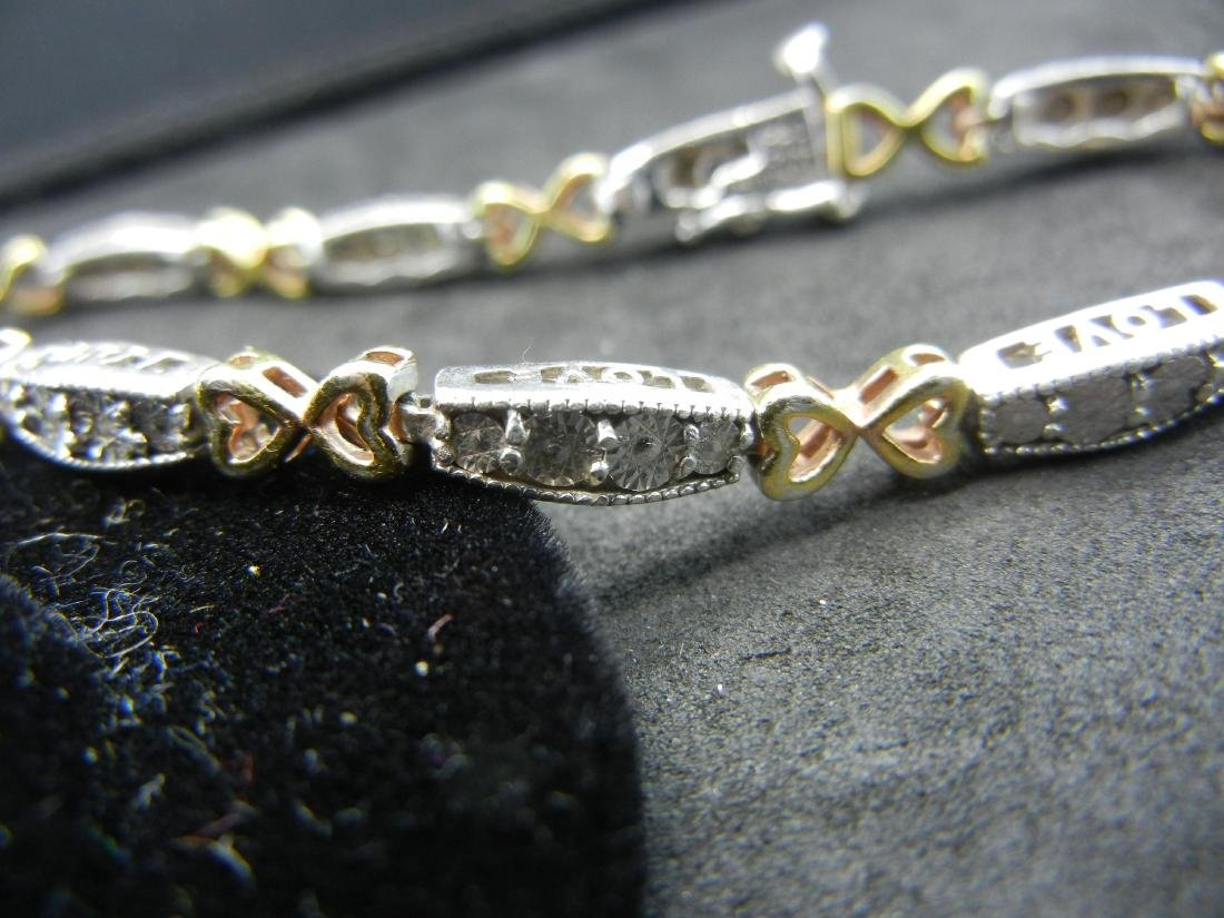 925 Silver Diamond LOVE Bracelet. With gold overlays - 2