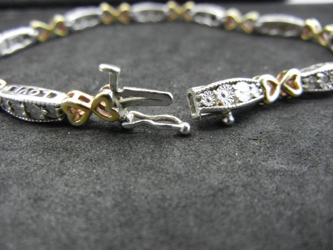 925 Silver Diamond LOVE Bracelet. With gold overlays - 4