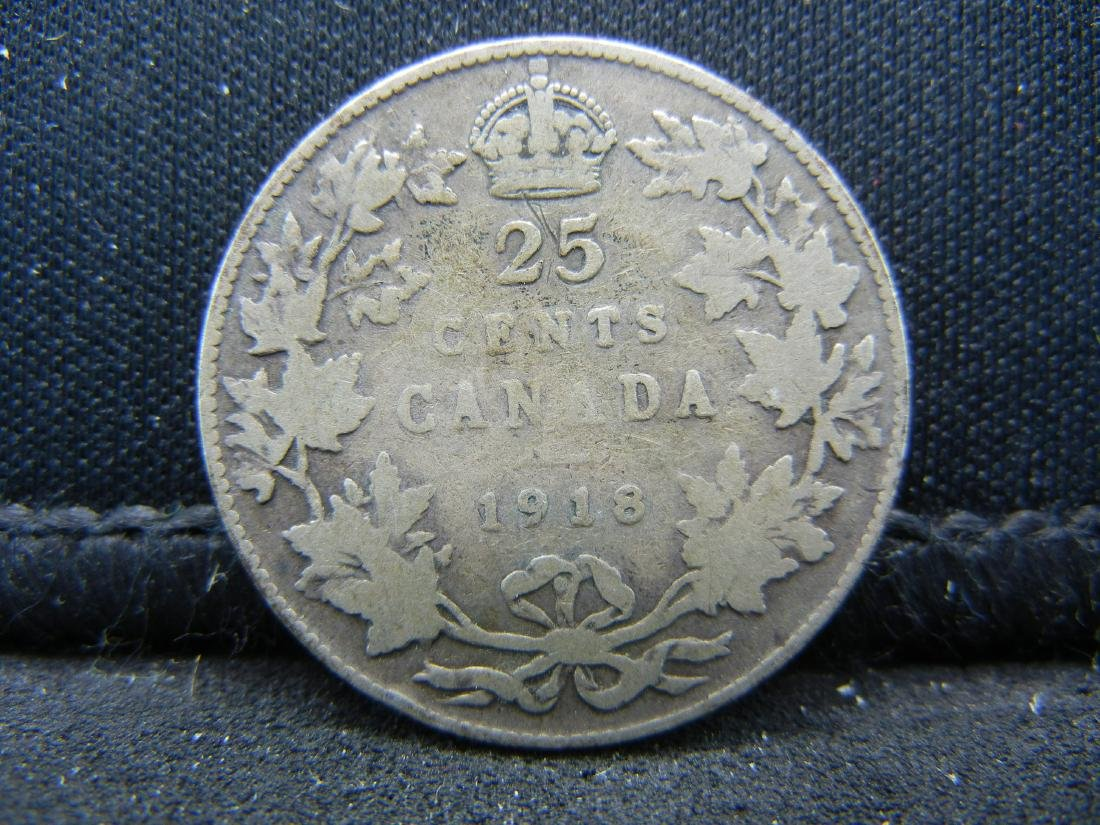 1918 Canada Sterling (92.5%) Silver Quarter.  Coin