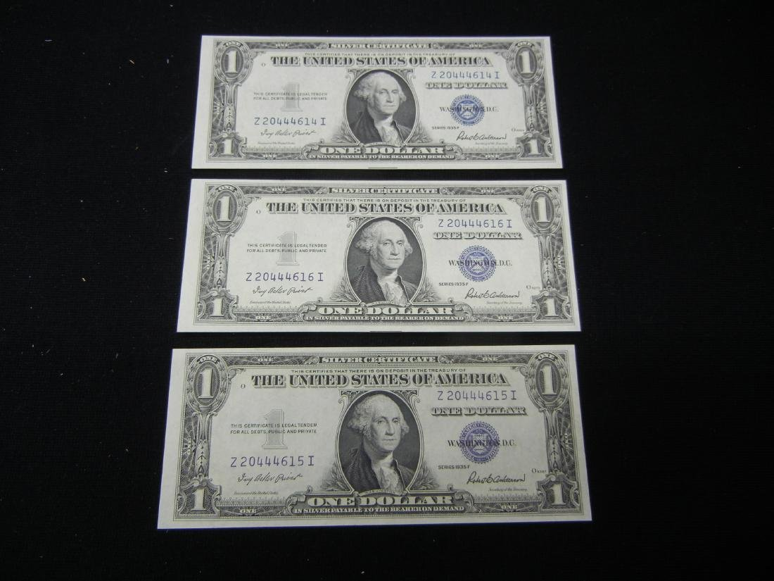 (3) 1935 F Silver certificates. CONSECUTIVE NOTES!