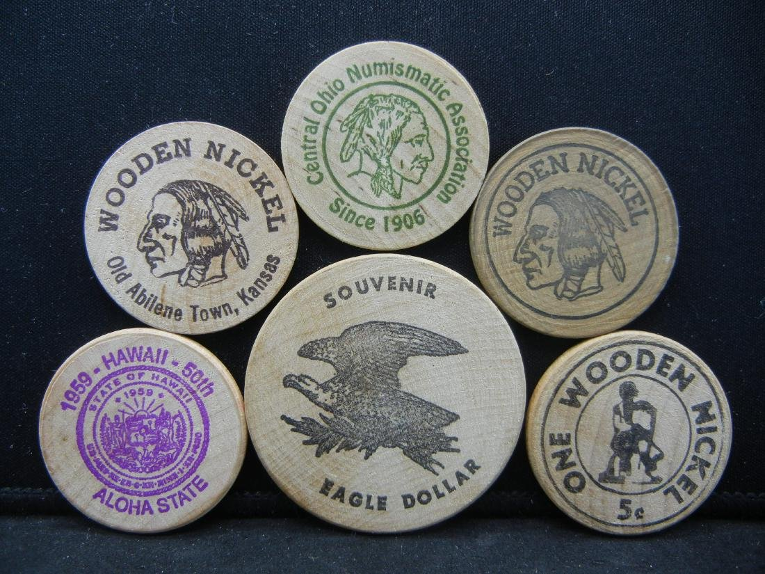Group of 6 Different Wooden Nickels.