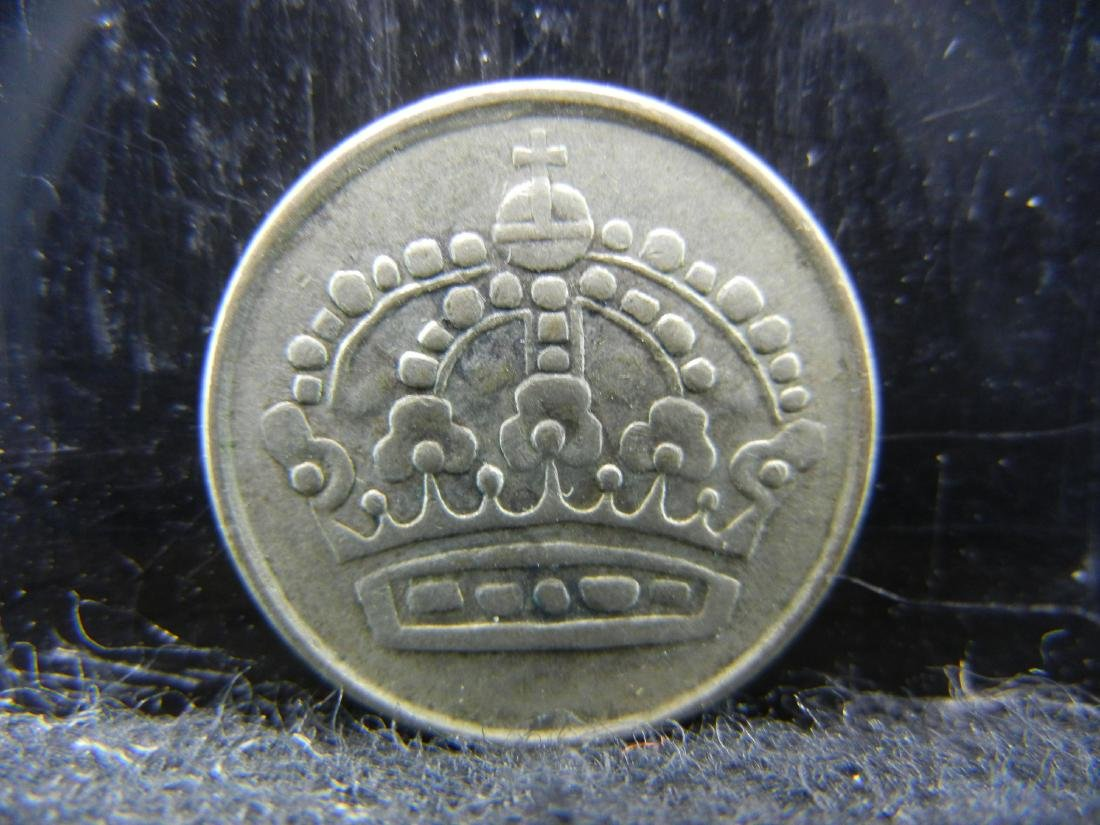 1956 Norway 25 Ore 40% Silver Coin.  Weighs 0.8 Toz. - 2