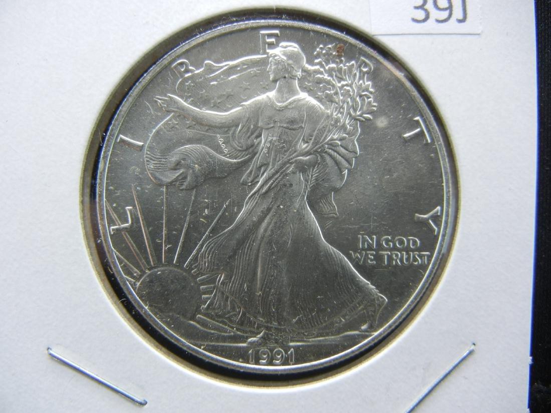1991 American Silver Eagle. BU. Nice early date.