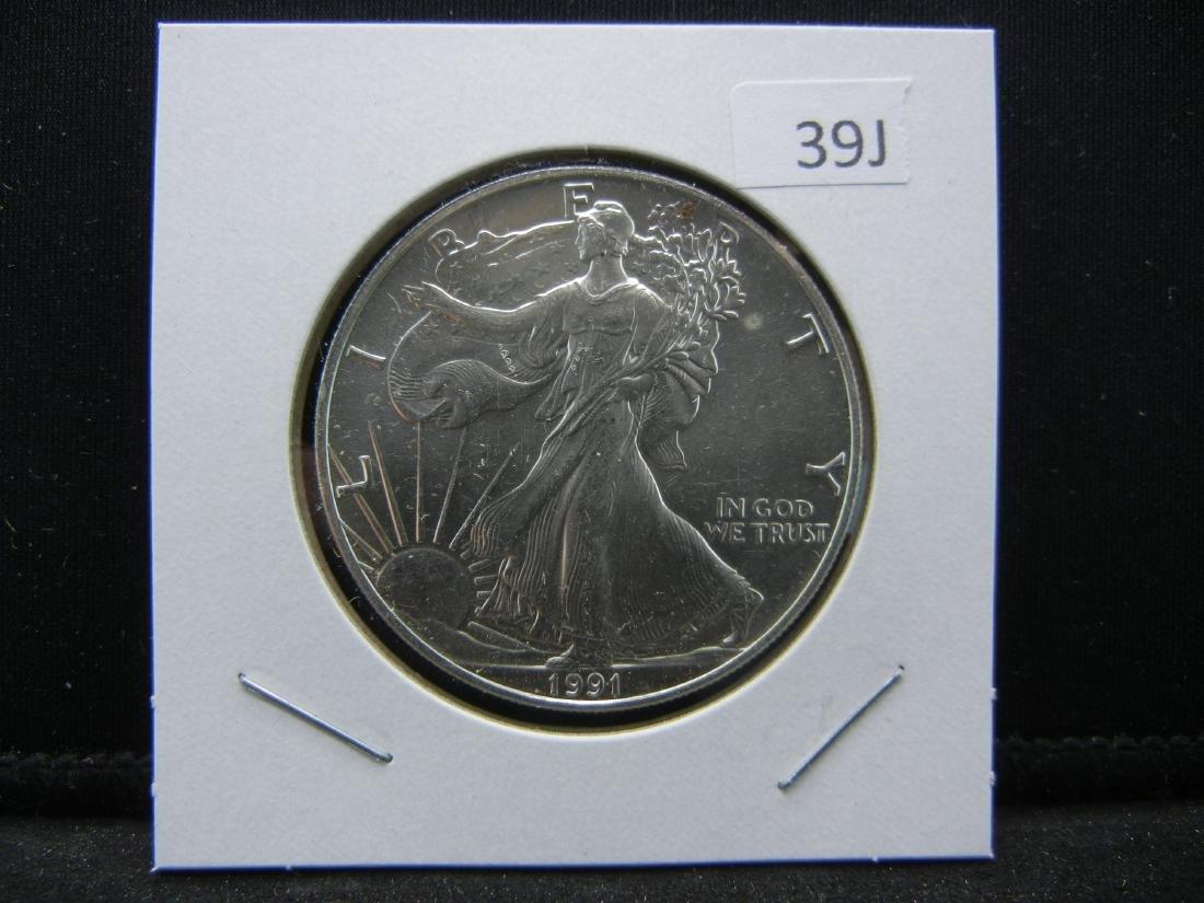 1991 American Silver Eagle. BU. Nice early date. - 3