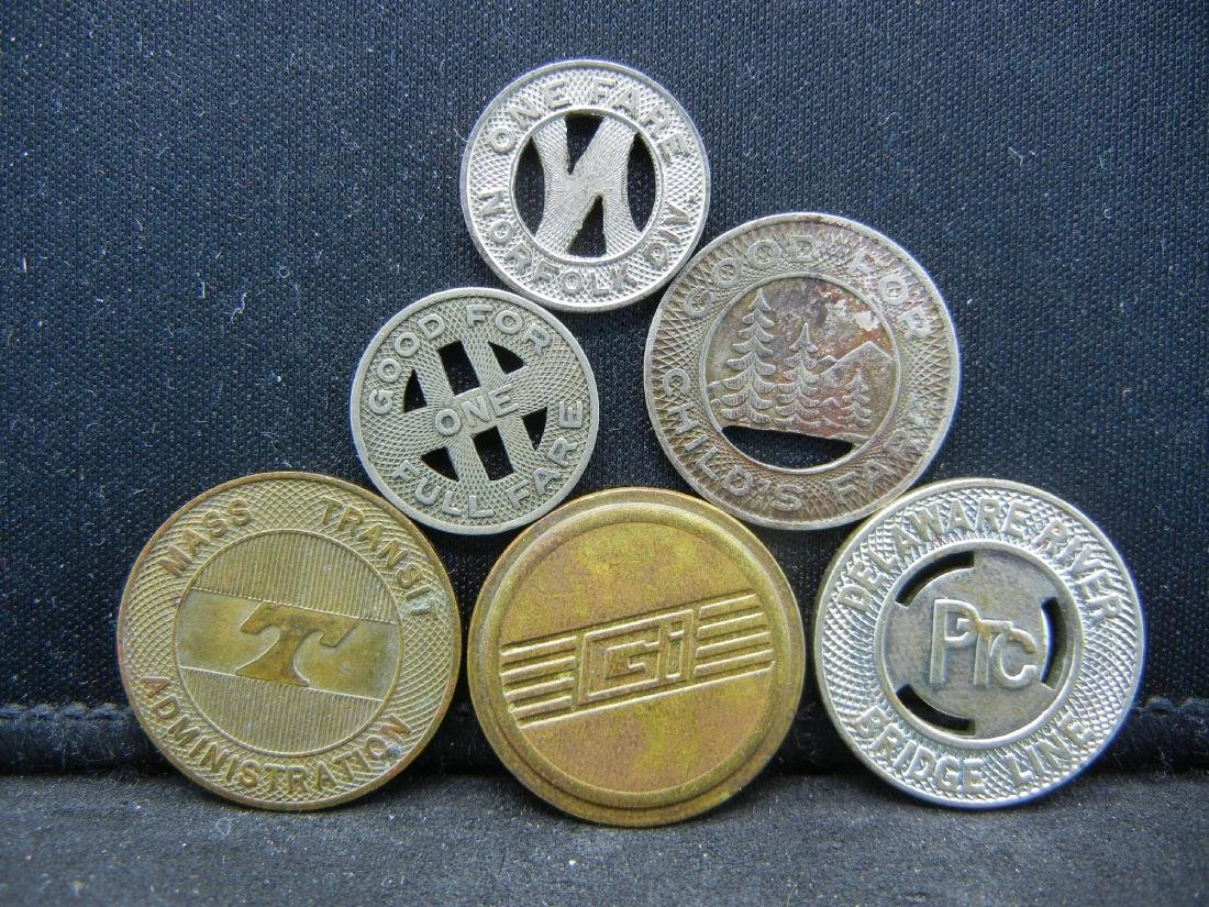 Group of 6 Different Transit Fare Tokens. - 2