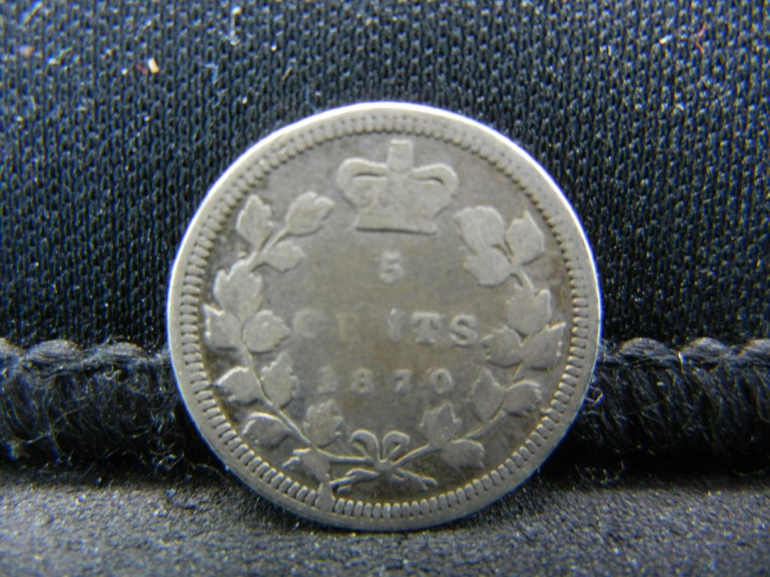 1870 Canada 5 Cents Sterling (92.5%) Silver Coin.  Coin