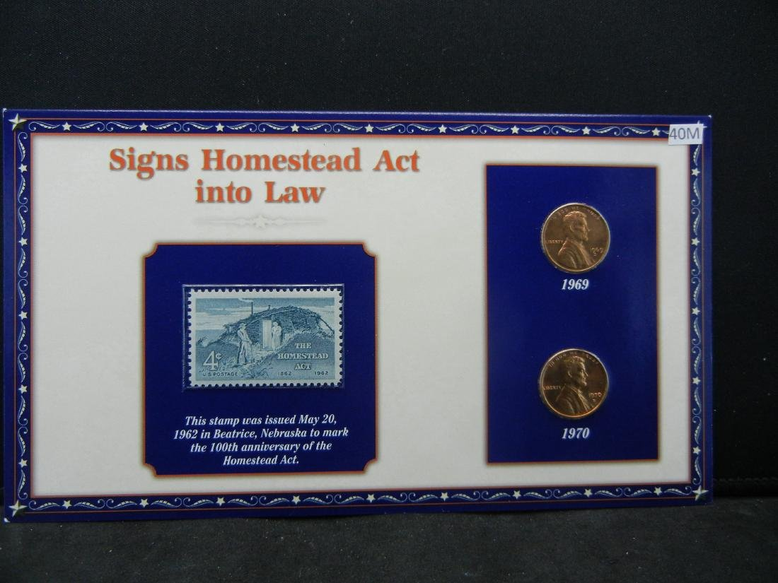 1969 1970 Lincoln Cents and Stamp Set Remembering