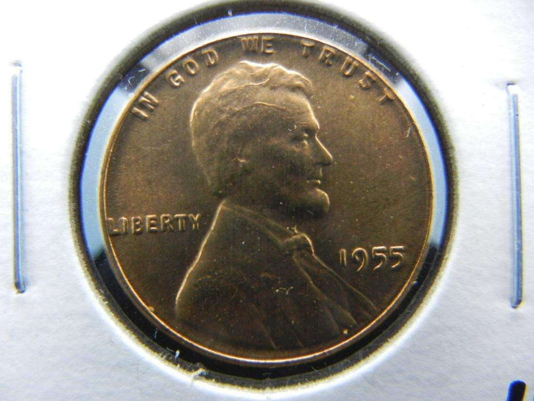 1955 Poormans Double Die Wheat cent. RED GEM BU.