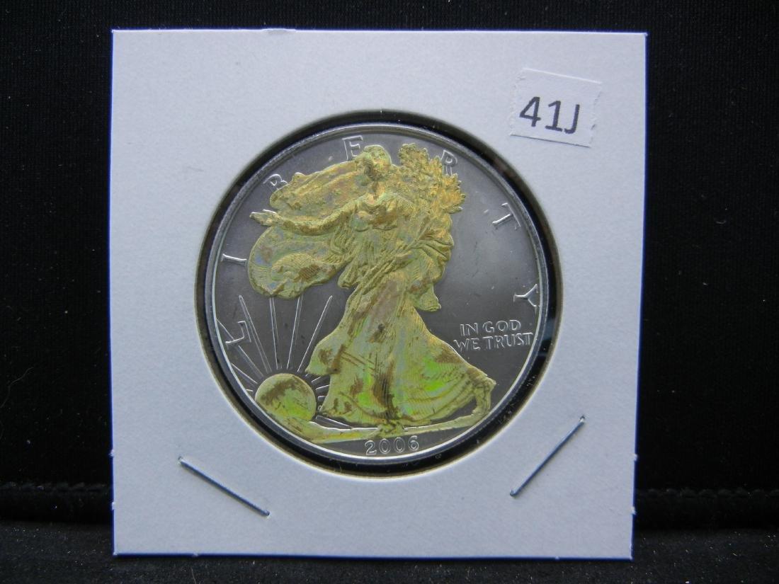 2006 HOLOGRAM American Silver Eagle. Gold flashy! BU. - 2
