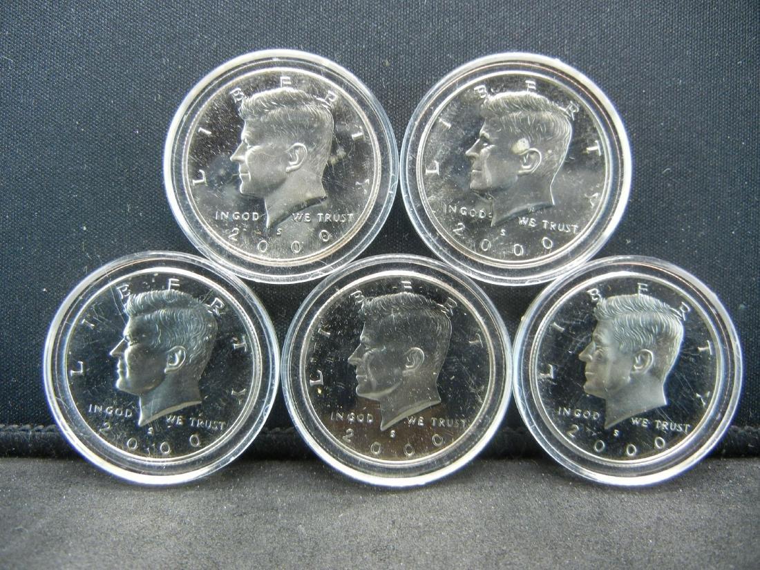 5 2000-S Proof Kennedy Half Dollars.
