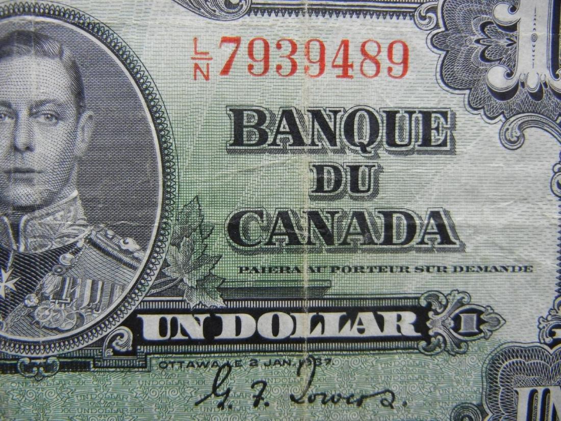 1937 VINTAGE Canada $1. George VI - 2