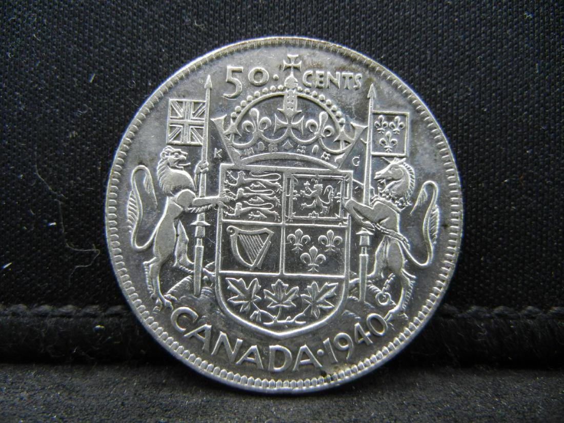 1940 Canada 50 Cents 80% Silver Uncirculated Coin,