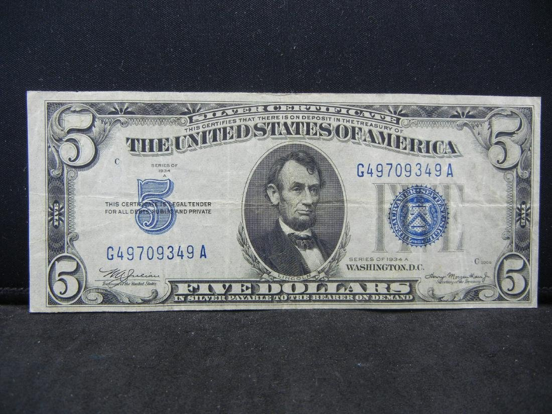1934-A $5 Blue Seal Silver Certificate.  Serial #