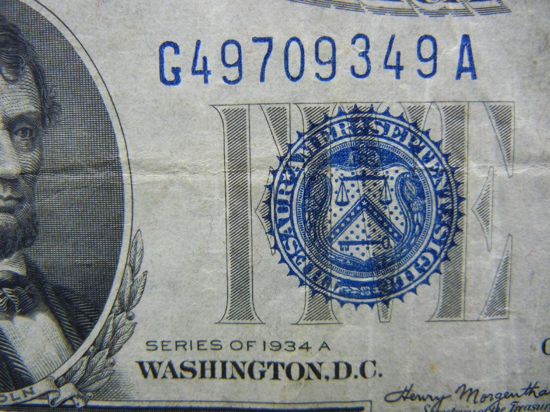 1934-A $5 Blue Seal Silver Certificate.  Serial # - 2