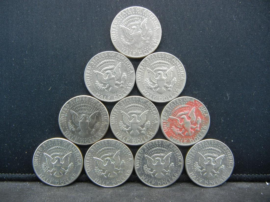 Lot of 10 Kennedy Half Dollars. Mixed Dates. Very Nice - 2
