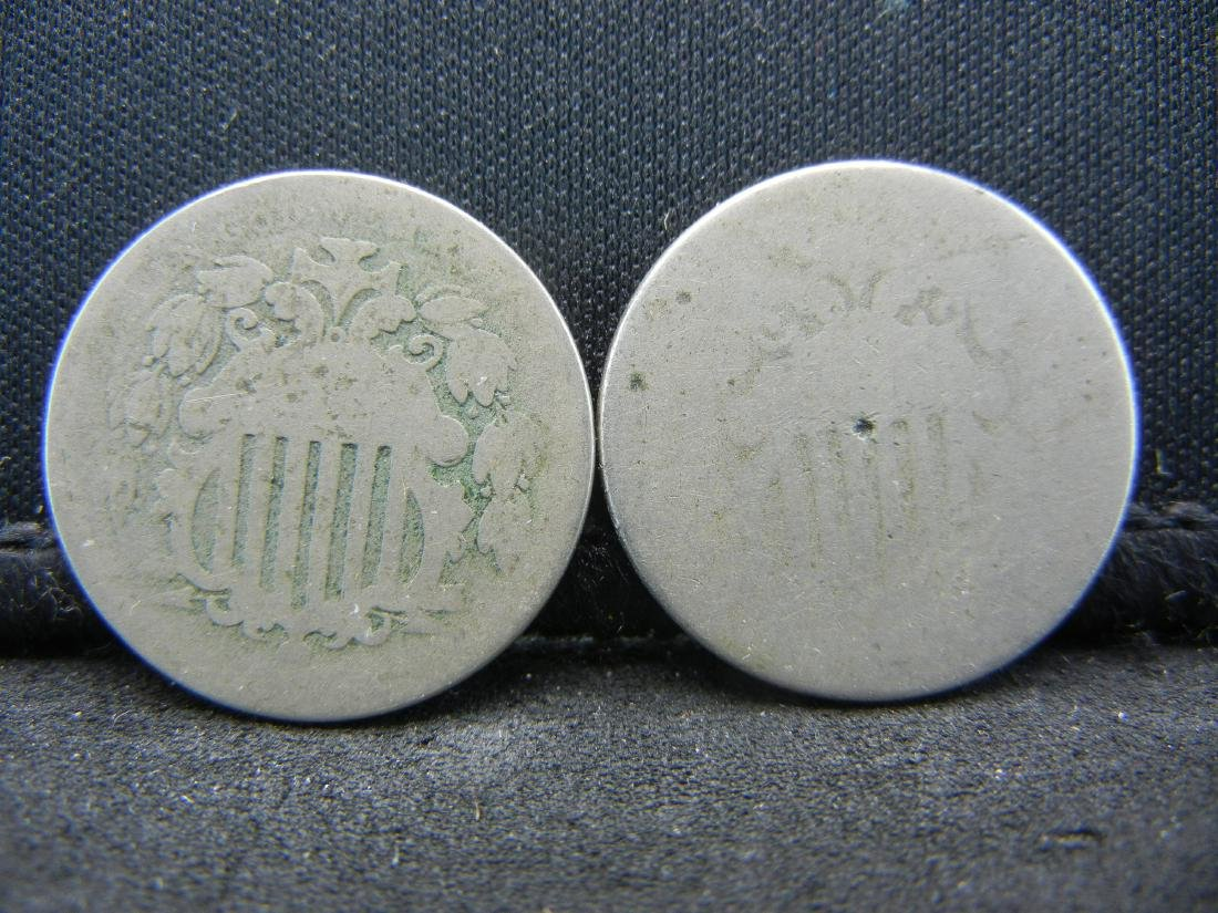 1866-1882 (2) Shield Nickels. Rare to find anymore.