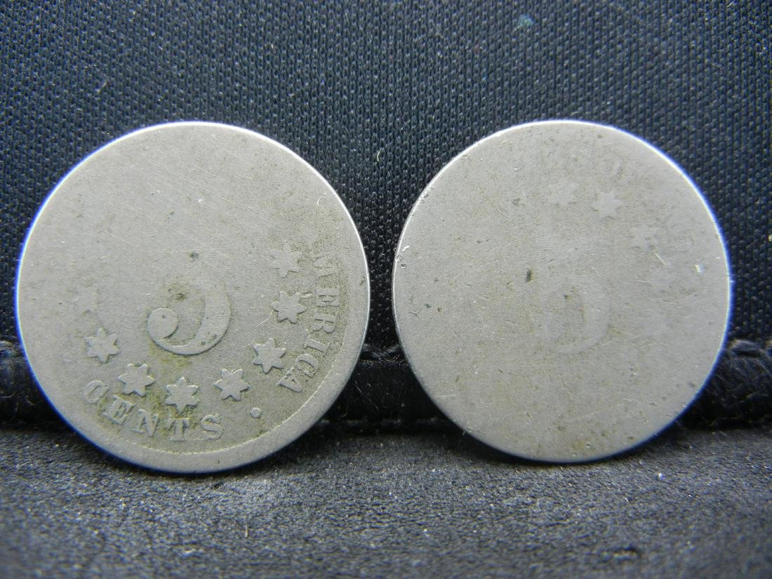 1866-1882 (2) Shield Nickels. Rare to find anymore. - 2