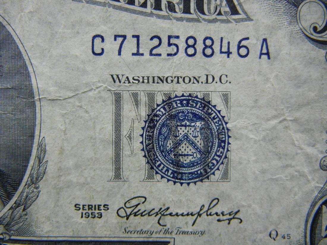 1953 $5 Blue Seal Silver Certificate.  Serial # - 2