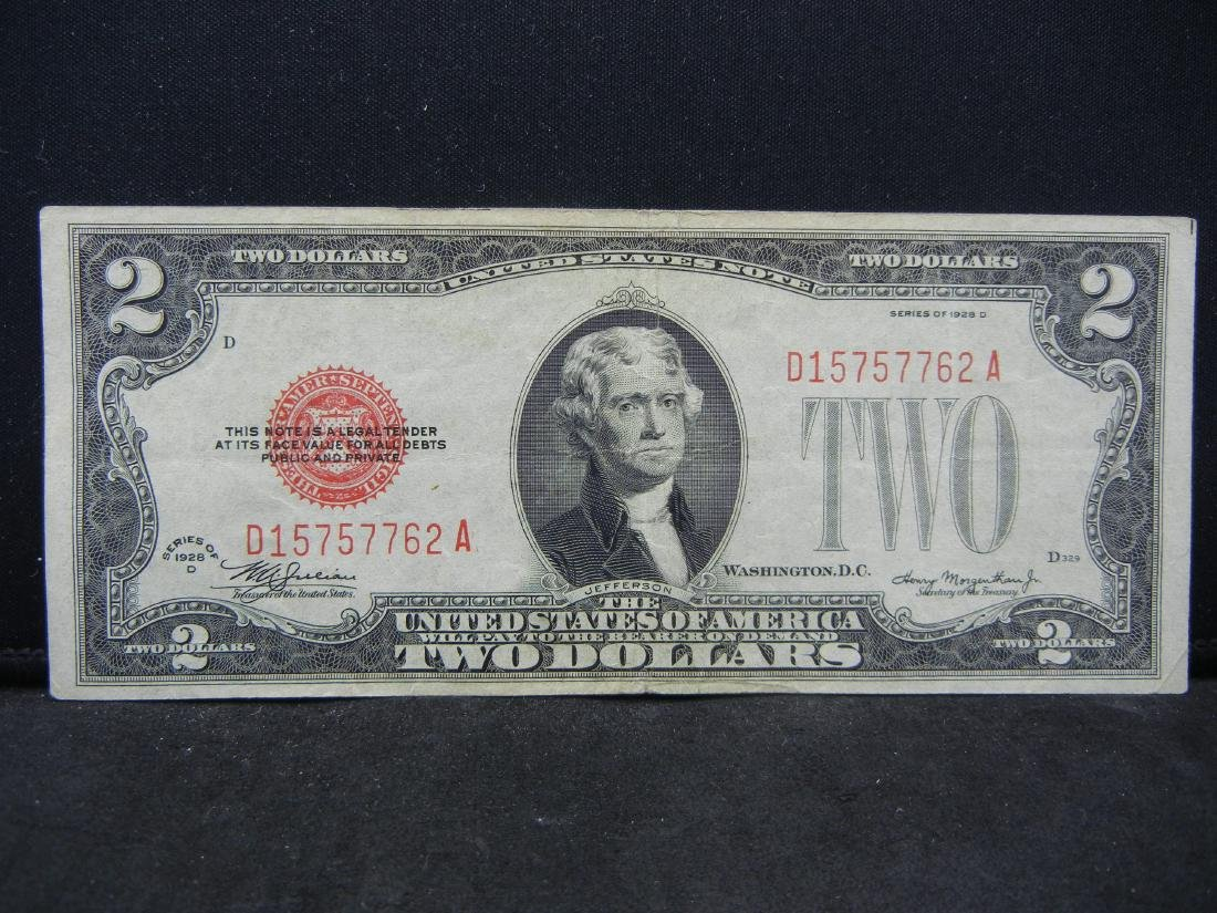 1928-D $2 Red Seal United States Note.  Serial #