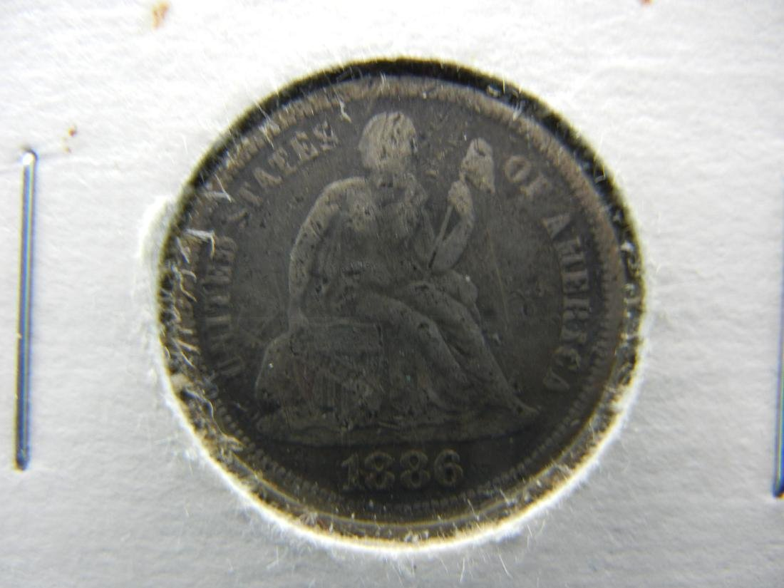 1886 Seated Liberty Silver Dime.