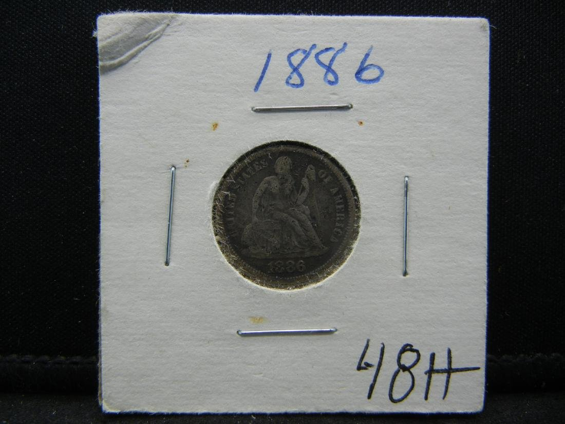 1886 Seated Liberty Silver Dime. - 3