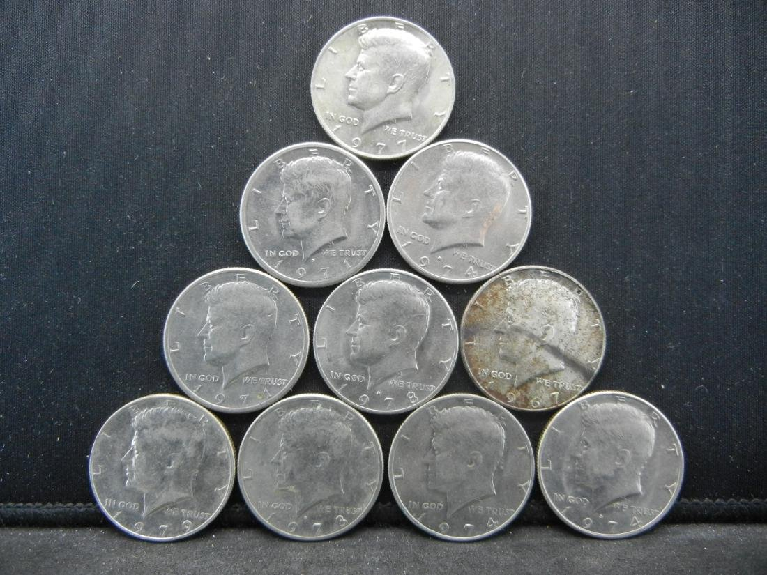 Lot of 10 Kennedy Half Dollars. Mixed Dates. Very Nice
