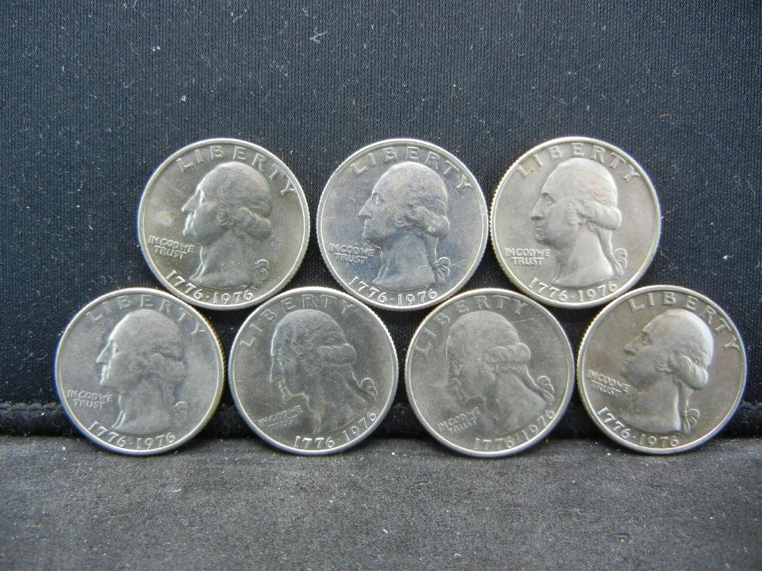 Lot of 7 Bicentennial Washington Quarters. 1976