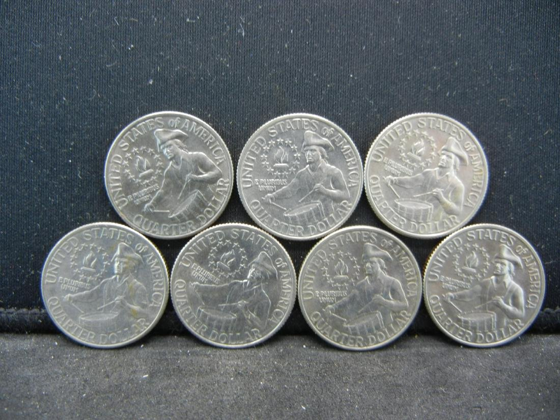 Lot of 7 Bicentennial Washington Quarters. 1976 - 2