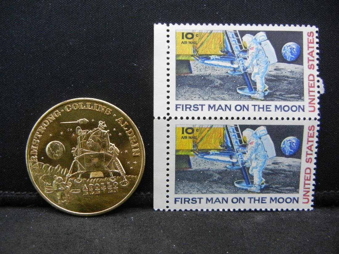 APOLLO 1969 GEM BU Brzone Medal with stamps. 50th