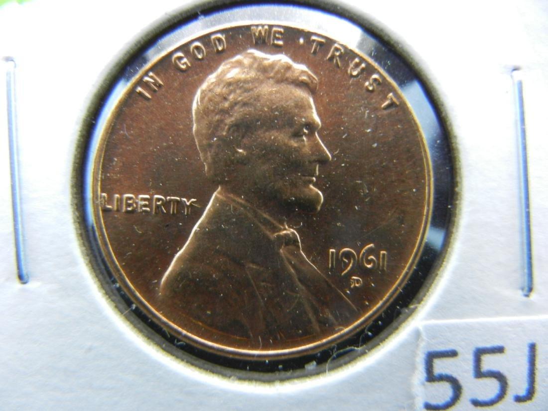 1961 D over D Memorial cent. Red BU over Horizontal D.
