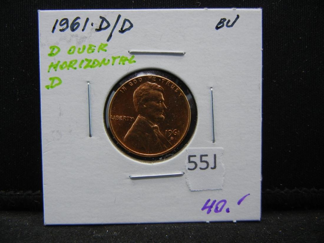 1961 D over D Memorial cent. Red BU over Horizontal D. - 3