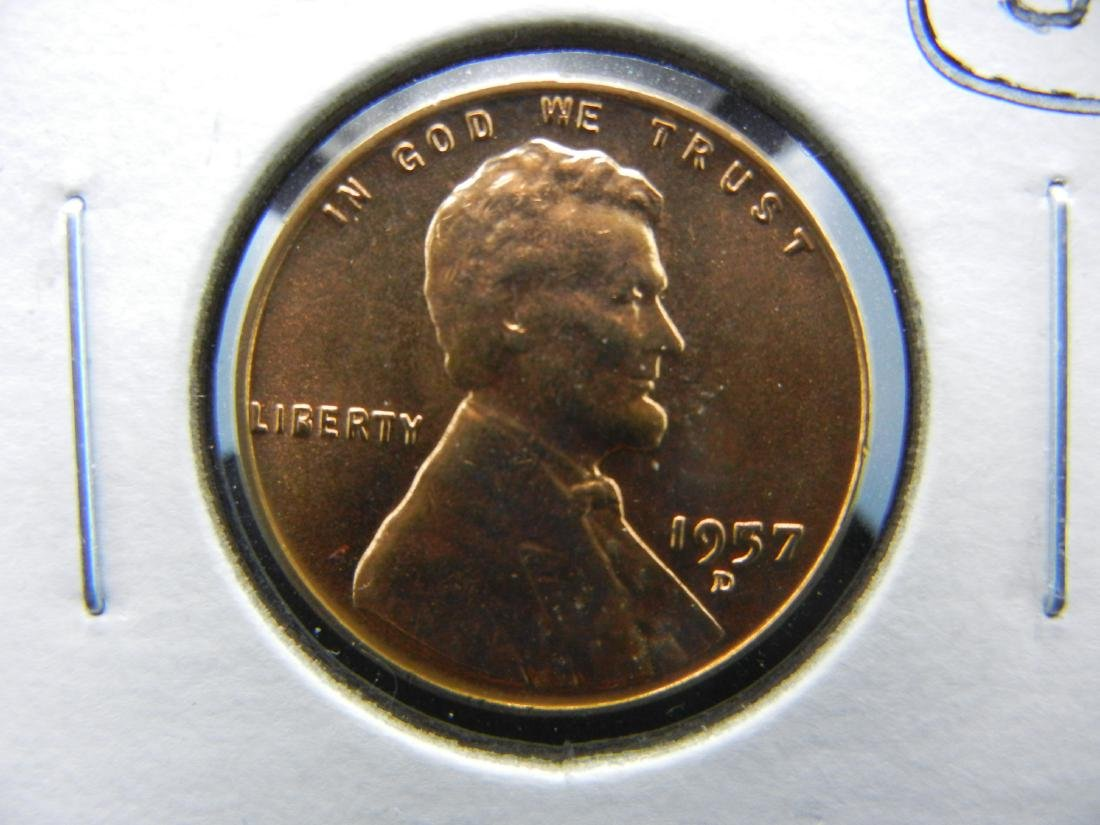 1957-D Filled 5 Filled B ERROR Wheat cent. Red BU.