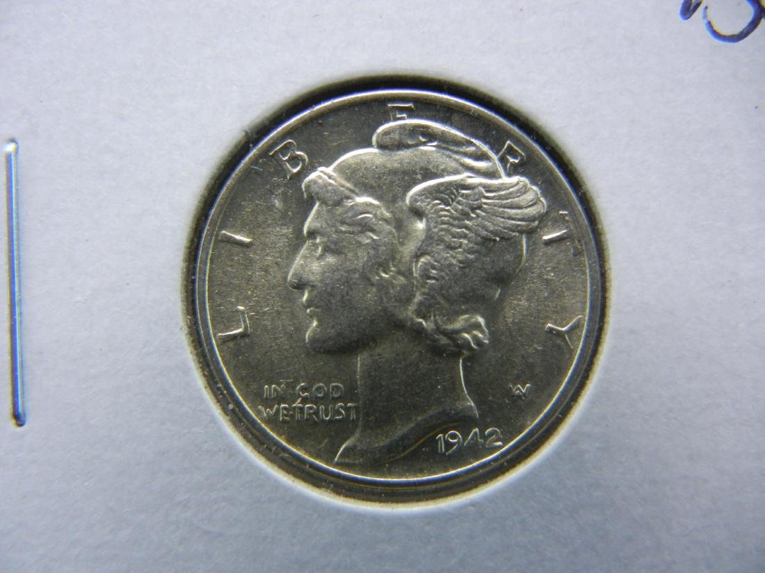 1942 Mercury Dime Choice BU