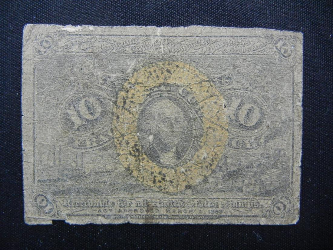 1863 George Washington Fractional US 10 cent note.