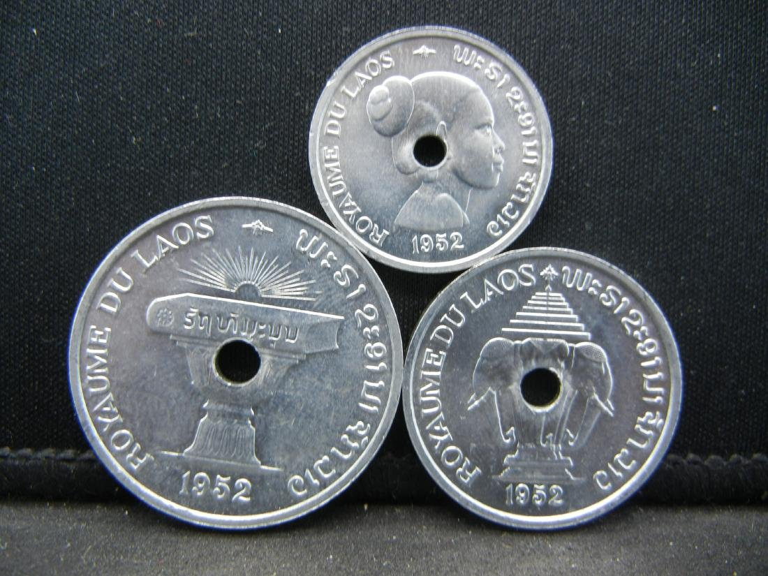1952 Uncirculated Laos 10, 20, & 50 Centimes Set, - 3
