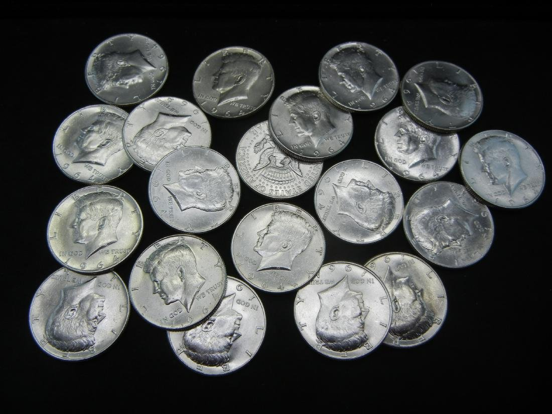20 1964 Kennedy Half Dollars. 90% Silver. All Coins are - 2
